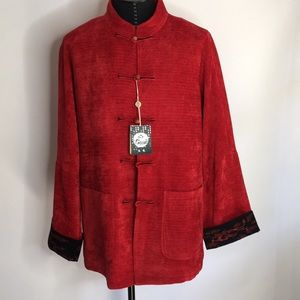 Red Asian influenced jacket.   Size 52